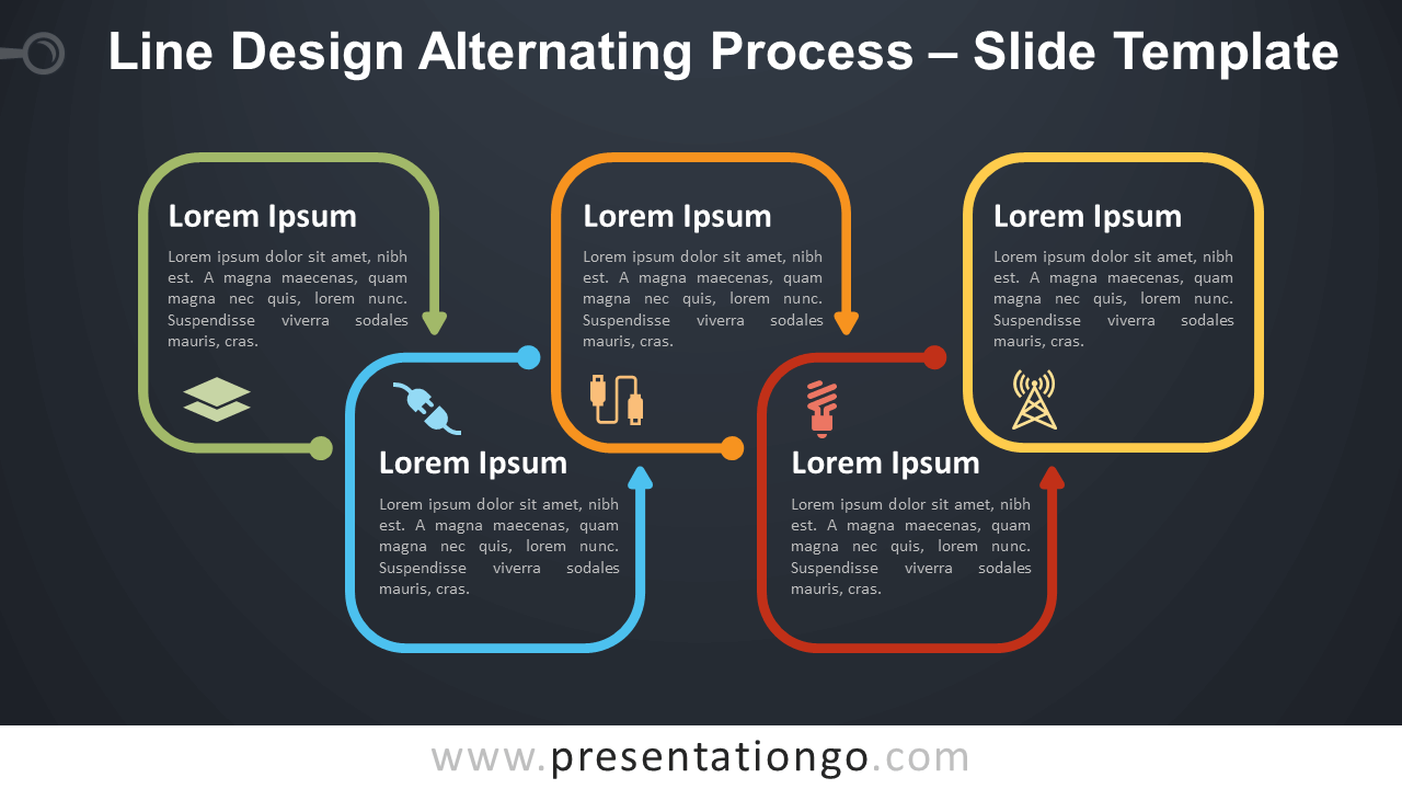 Free Line Design Alternating Process Diagram for PowerPoint and Google Slides