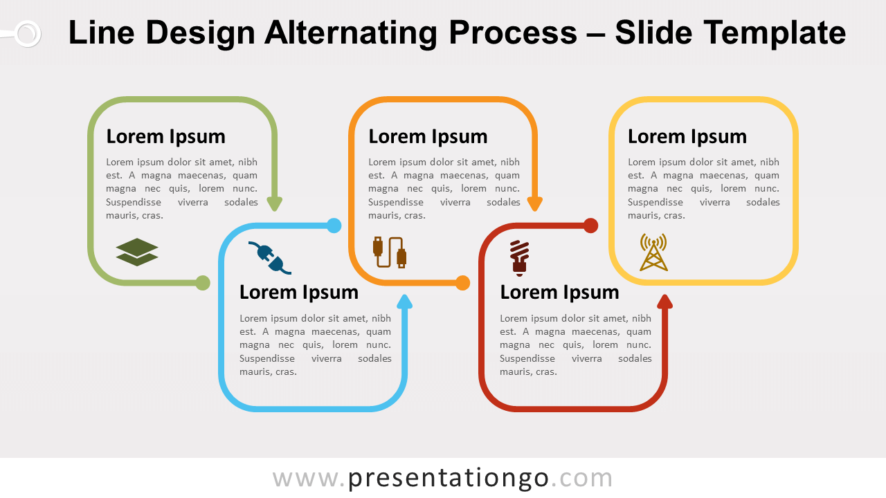 Free Line Design Alternating Process for PowerPoint and Google Slides