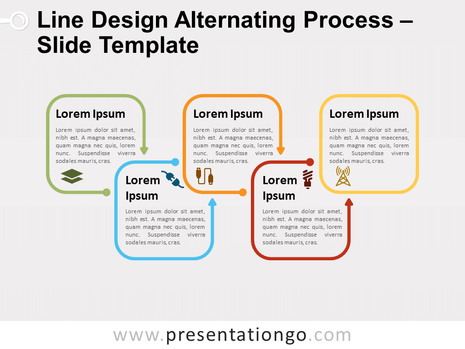 Free Line Design Alternating Process for PowerPoint