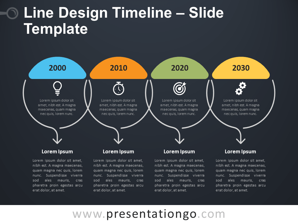 Free Line Design Timeline Infographics for PowerPoint
