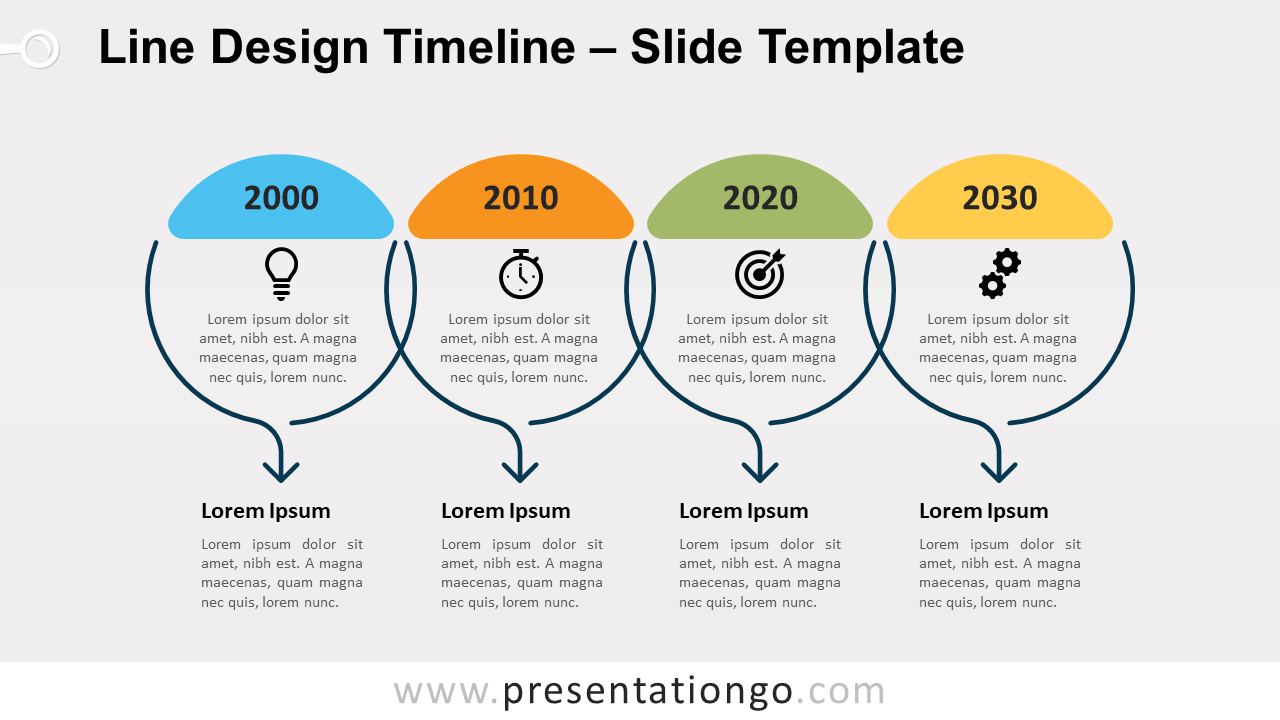 Free Line Design Timeline for PowerPoint and Google Slides