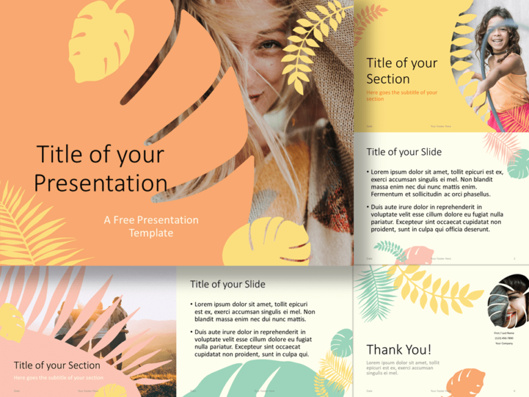 Free PASTEL LEAVES Template for PowerPoint and Google Slides