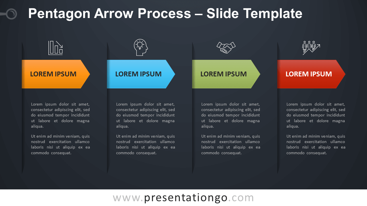 Free Pentagon Arrow Process Infographic for PowerPoint and Google Slides