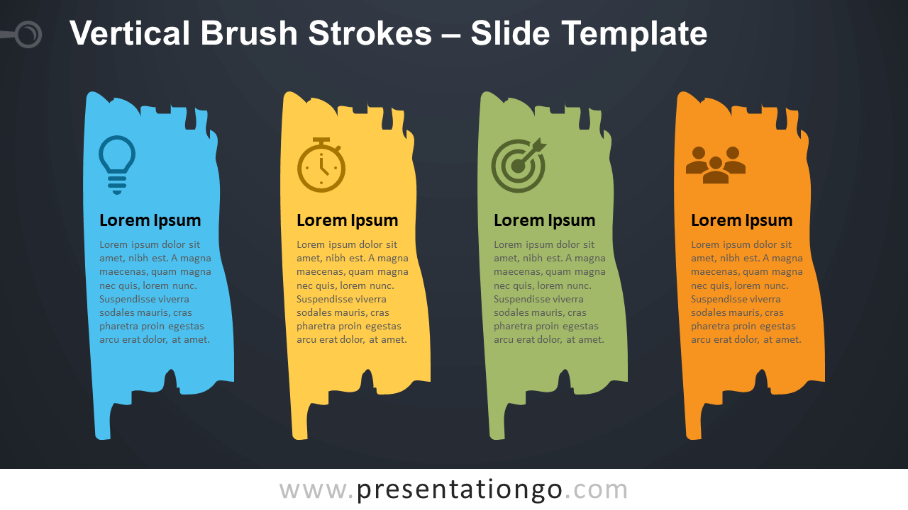 Free Vertical Brush Strokes Infographic for PowerPoint and Google Slides