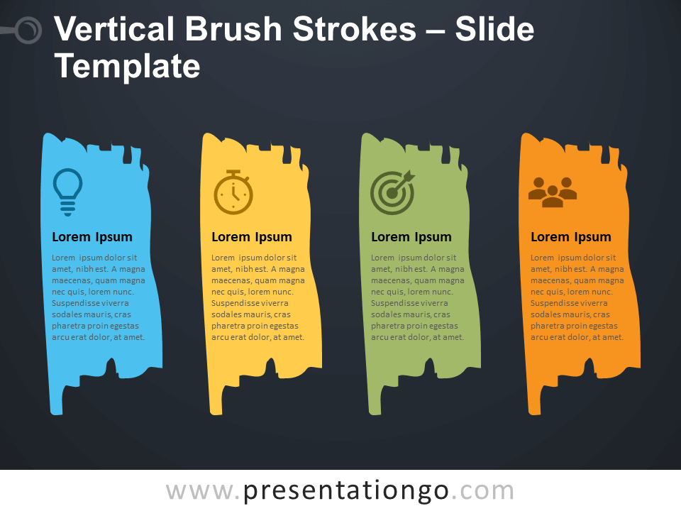 Free Vertical Brush Strokes Infographic for PowerPoint