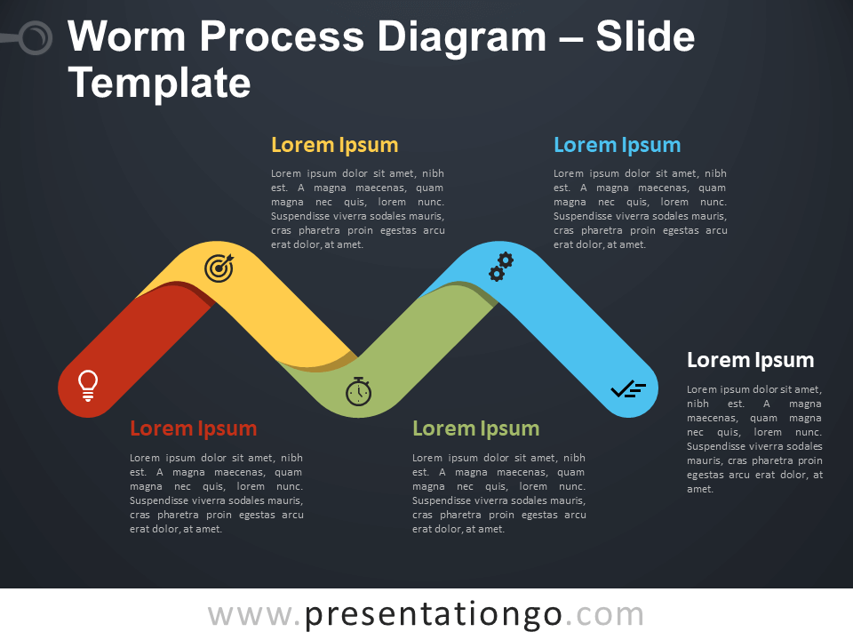 Free Worm Process Diagram Infographic for PowerPoint