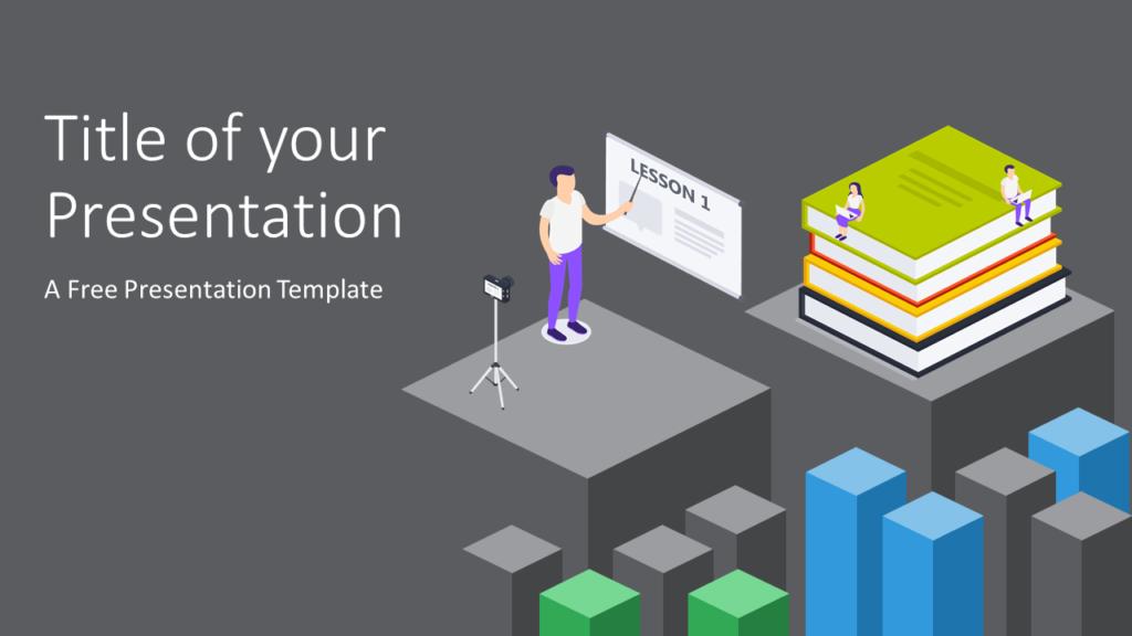 Free Isometric eLearning Template for Google Slides - Cover Slide