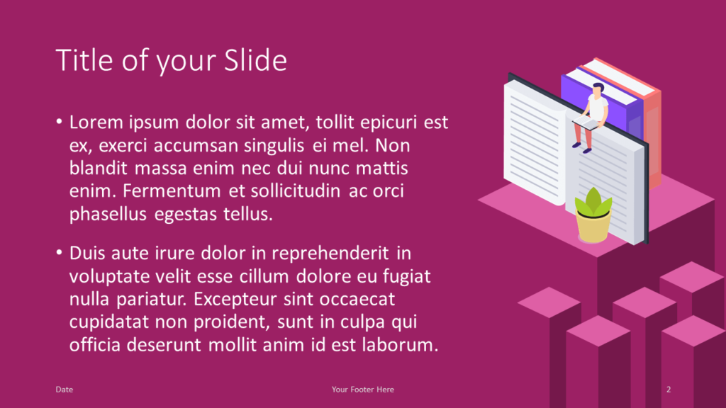 Free Isometric eLearning Template for Google Slides – Title and Content Slide (Variant 1)