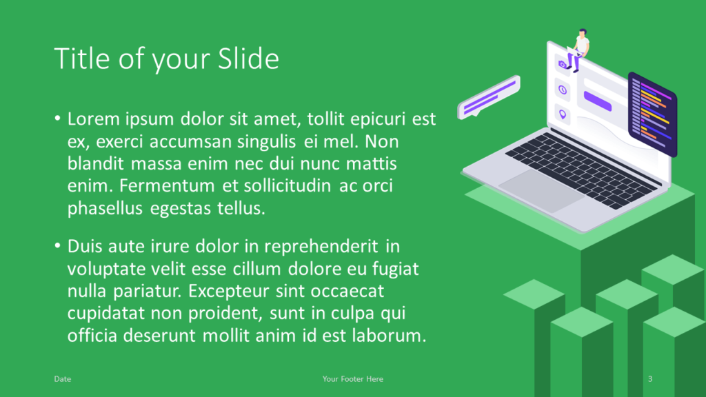 Free Isometric eLearning Template for Google Slides – Title and Content Slide (Variant 2)
