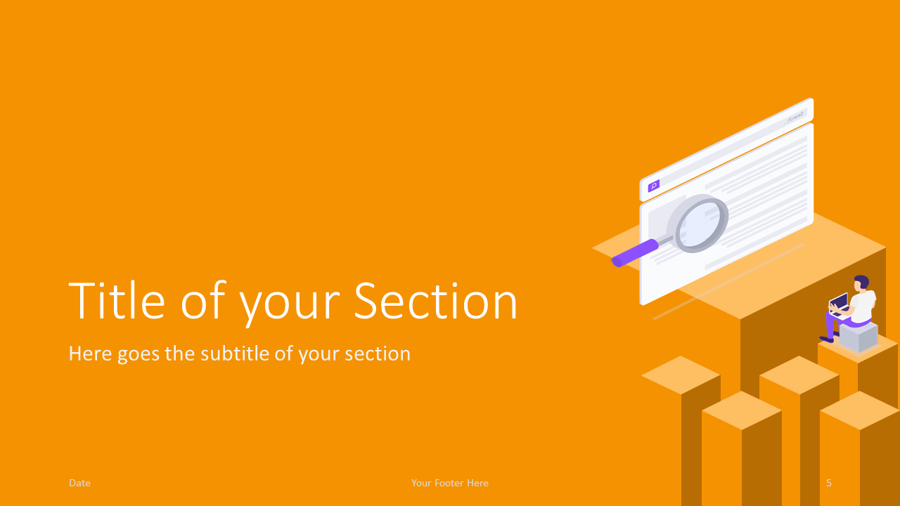 Free Isometric eLearning Template for Google Slides – Section Slide (Variant 2)