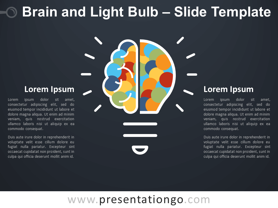 Free Brain Light Bulb Infographic for PowerPoint