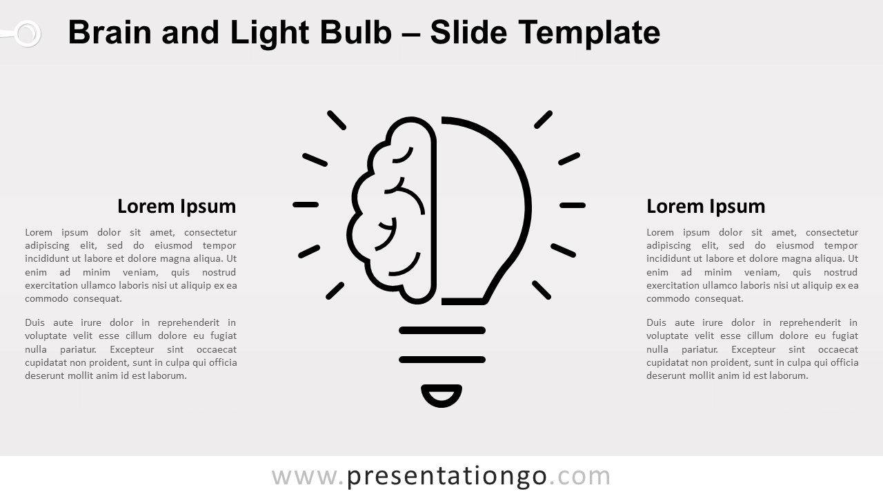 Free Brain and Light Bulb Infographics for PowerPoint and Google Slides