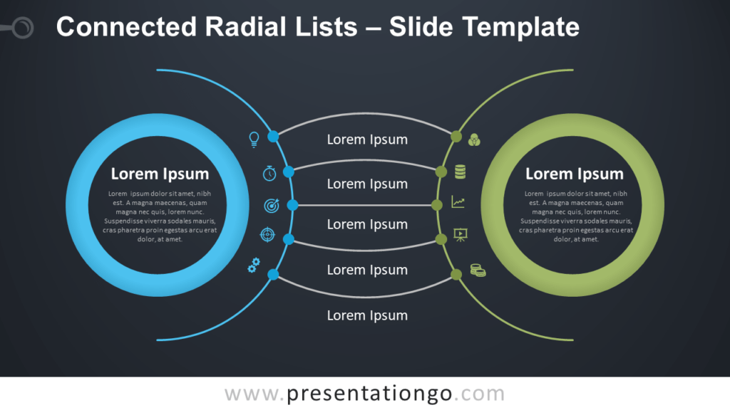 Free Connected Radial Lists Diagram for PowerPoint and Google Slides