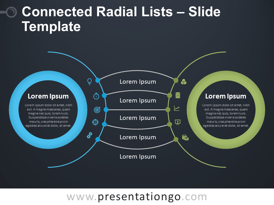 Free Connected Radial Lists Diagram for PowerPoint