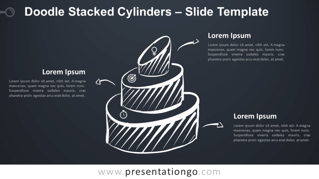 Free Doodle Stacked Cylinders Diagram for PowerPoint and Google Slides