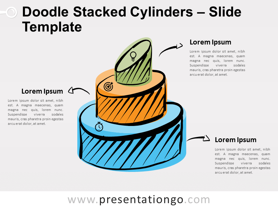 Free Doodle Stacked Cylinders Diagram for PowerPoint