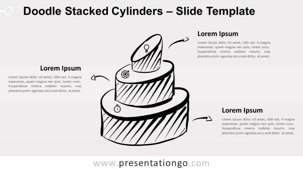 Free Doodle Stacked Cylinders for PowerPoint and Google Slides