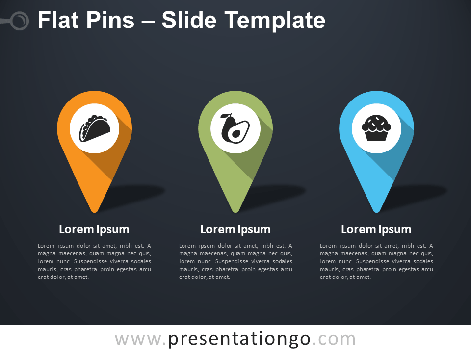 Free Flat Pins Infographic for PowerPoint