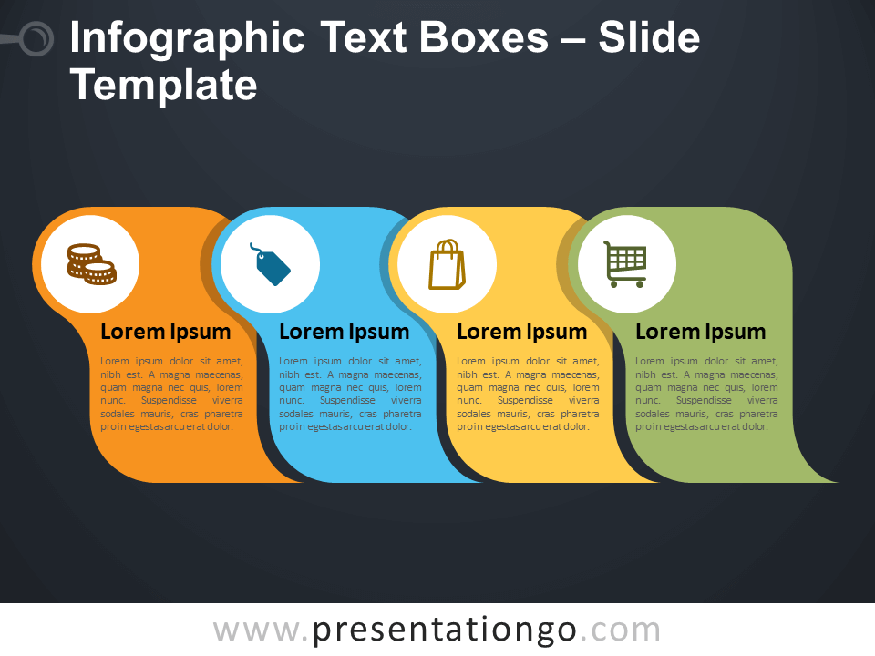 Free Infographic Text Boxes Diagram for PowerPoint
