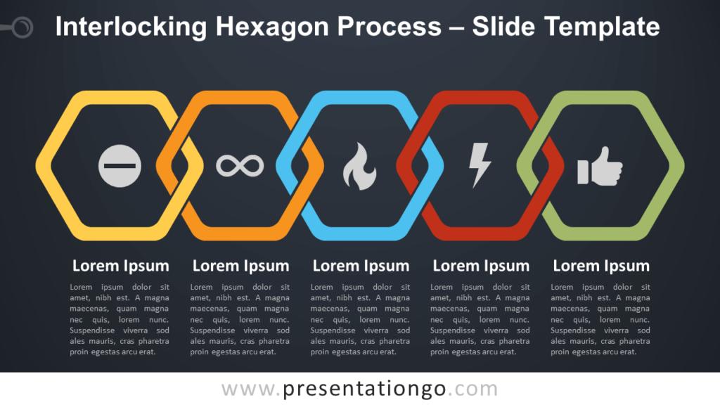 Free Interlocking Hexagon Process Diagram for PowerPoint and Google Slides