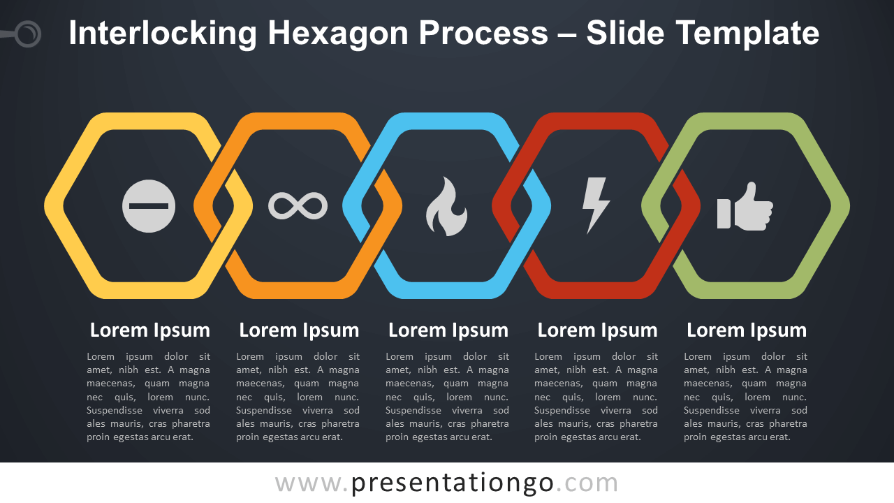 Free Interlocking Hexagon Process Diagram for PowerPoint and Google Slides