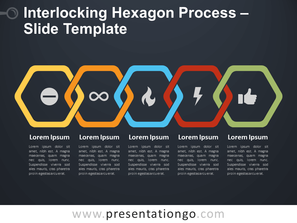 Free Interlocking Hexagon Process Diagram for PowerPoint