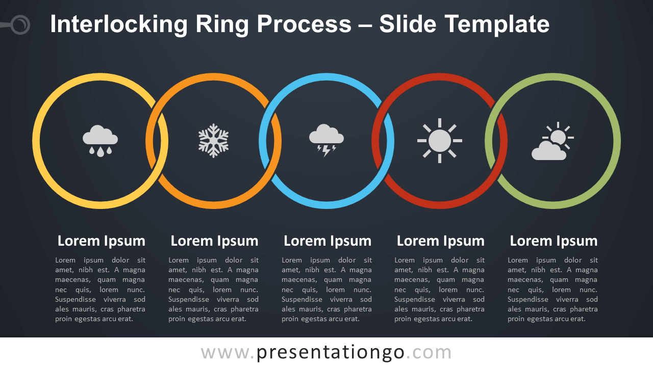 Free Interlocking Ring Process Diagram for PowerPoint and Google Slides