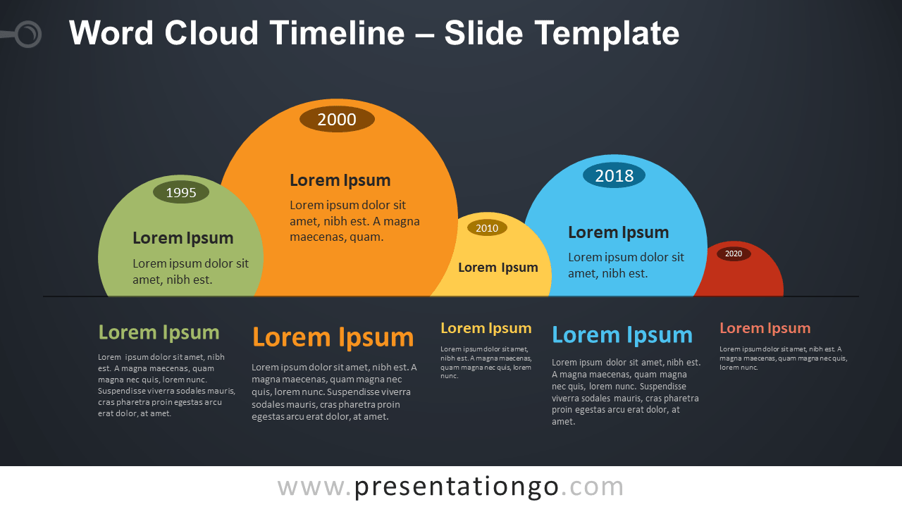 Free Word Cloud Timeline Infographic for PowerPoint and Google Slides
