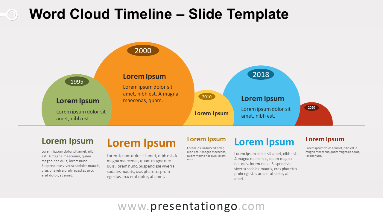 Free Word Cloud Timeline for PowerPoint and Google Slides