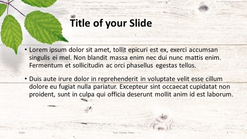 Free Green Leaves Flat Lay Template for Google Slides – Title and Content Slide (Variant 1)