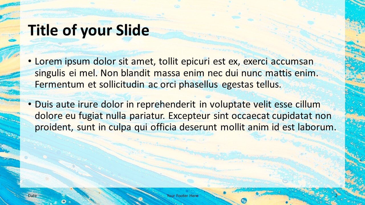 Free Liquid Marbling Paint Template for Google Slides – Title and Content Slide (Variant 1)