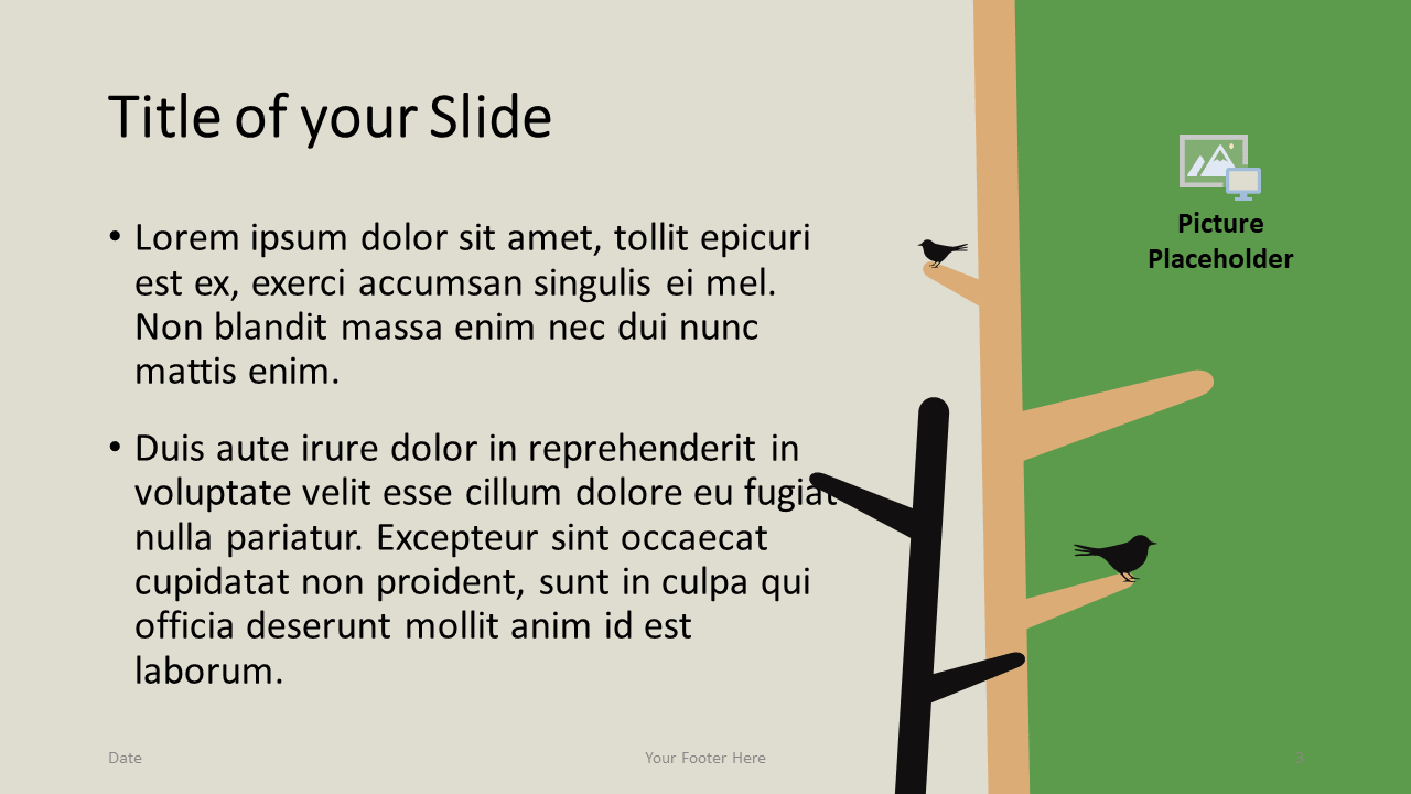 Free Birds Template for Google Slides – Title and Content Slide (Variant 2)