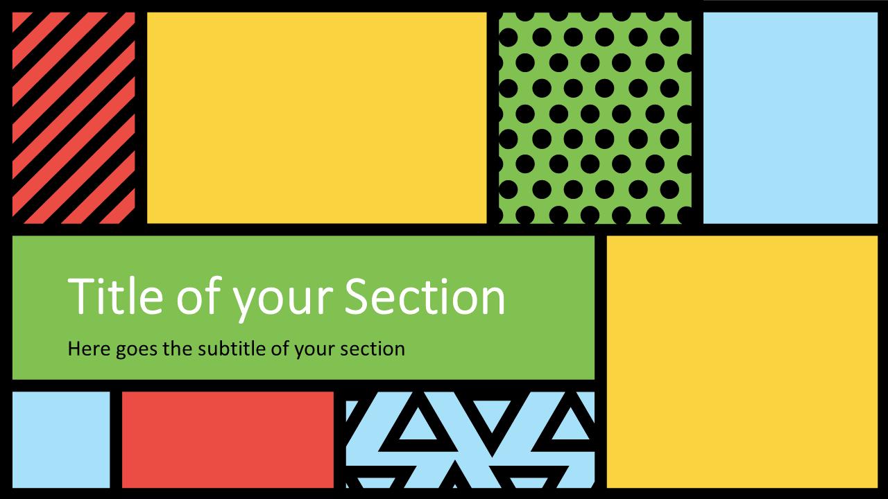 Free Mondrian Pop Art Template for Google Slides – Section Slide (Variant 1)