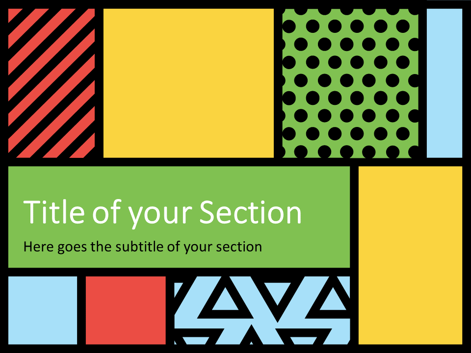 Free Mondrian Pop Art Template for PowerPoint – Section Slide (Variant 1)