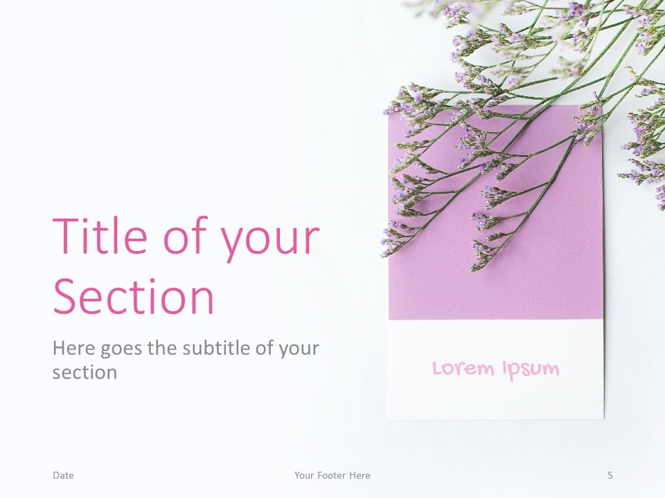 Free Color Cards and Flowers Template for PowerPoint – Section Slide (Variant 2)