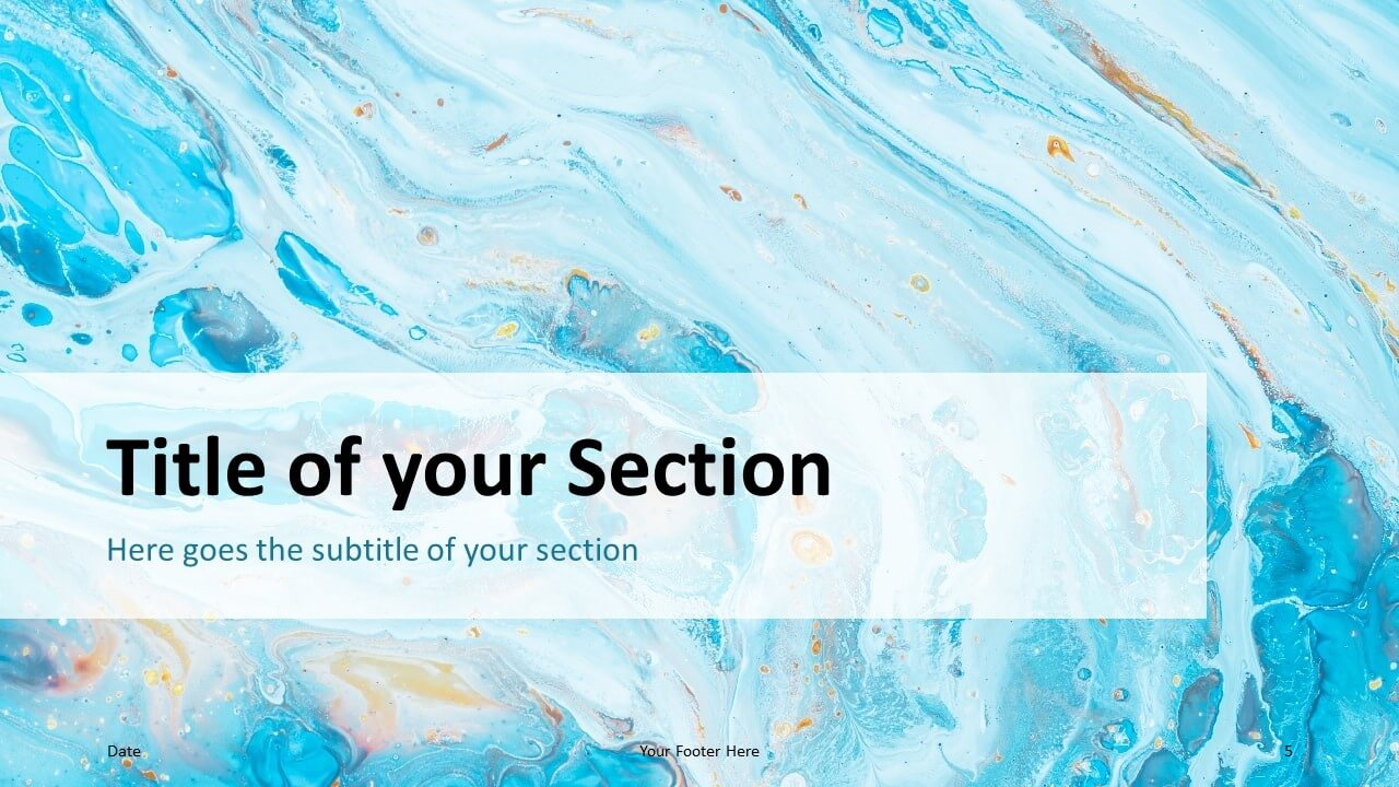Free Liquid Marbling Paint Template for Google Slides – Section Slide (Variant 2)