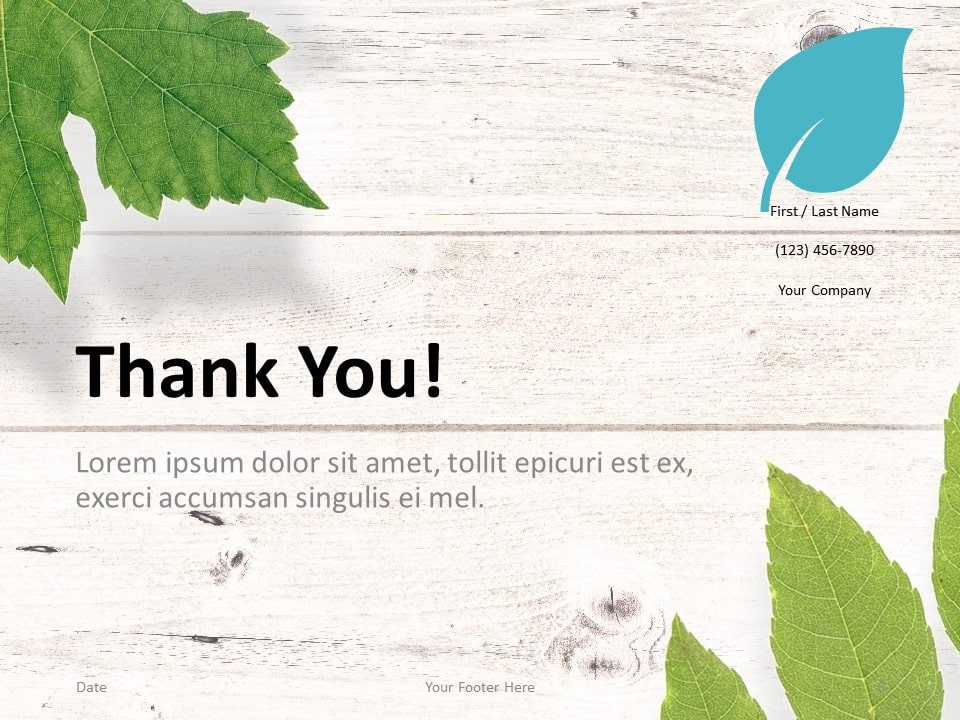 Free Green Leaves Flat Lay Template for PowerPoint - Closing / Thank you