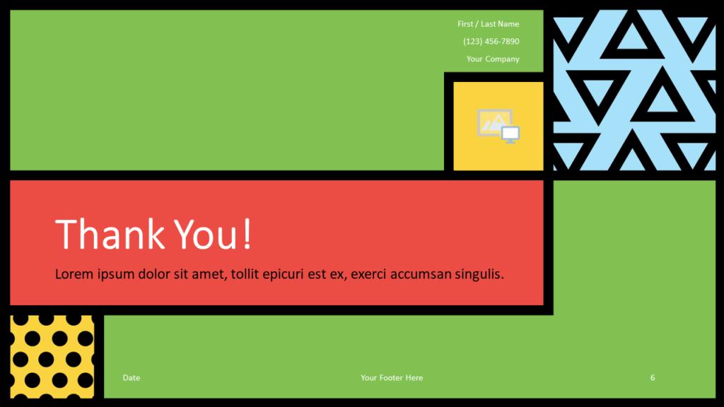 Free Mondrian Pop Art Template for Google Slides - Closing / Thank you