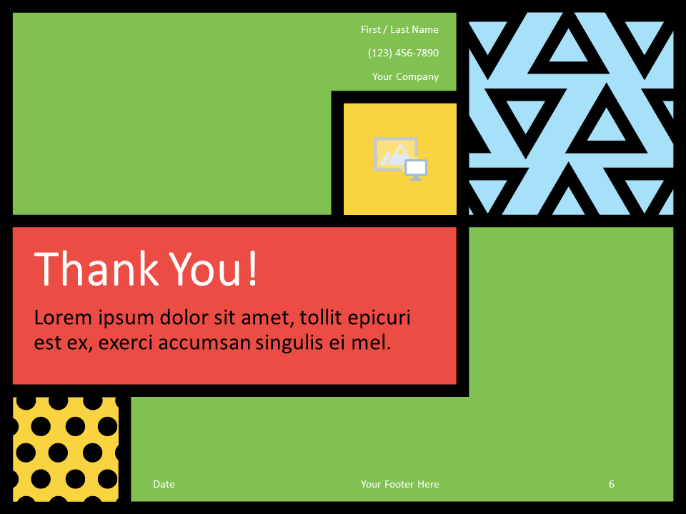 Free Mondrian Pop Art Template for PowerPoint - Closing / Thank you