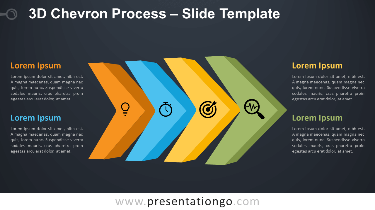 Free 3D Chevron Process Diagram for PowerPoint and Google Slides
