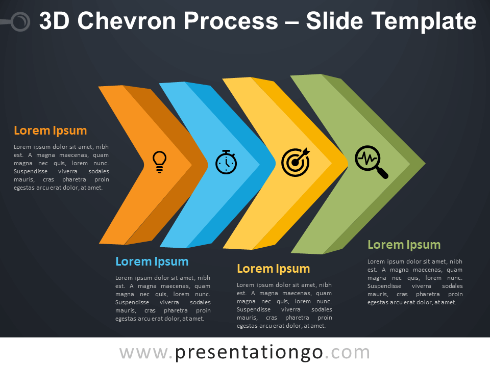 Free 3D Chevron Process Diagram for PowerPoint