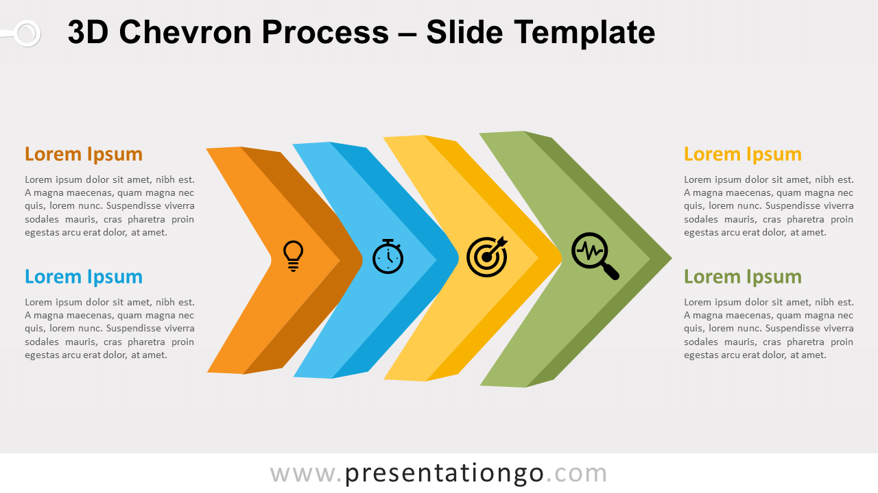 Free 3D Chevron Process for PowerPoint and Google Slides