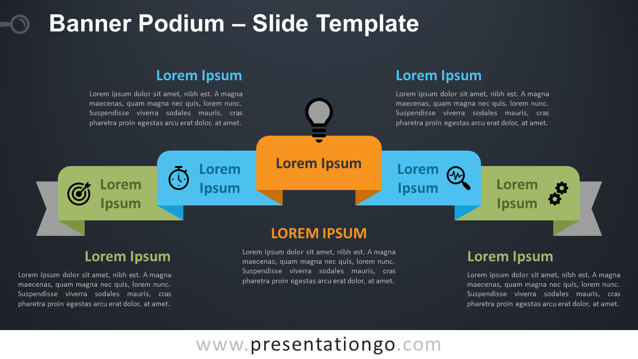 Free Banner Podium Diagram for PowerPoint and Google Slides