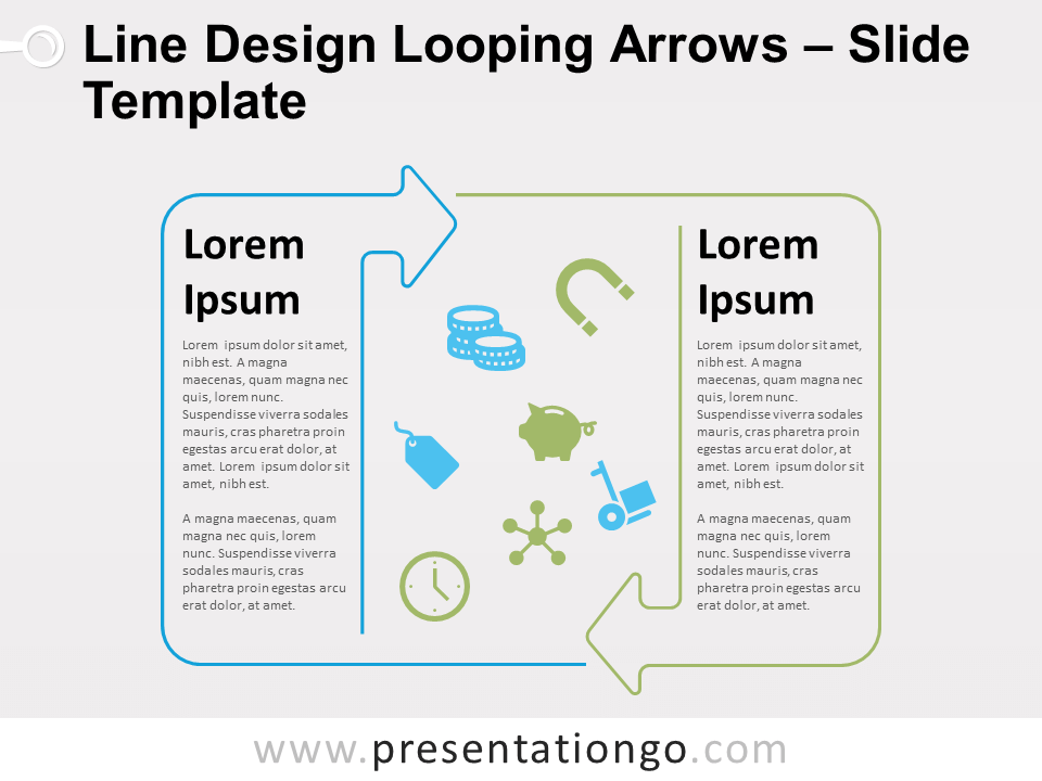 Free Line Design Looping Arrows for PowerPoint