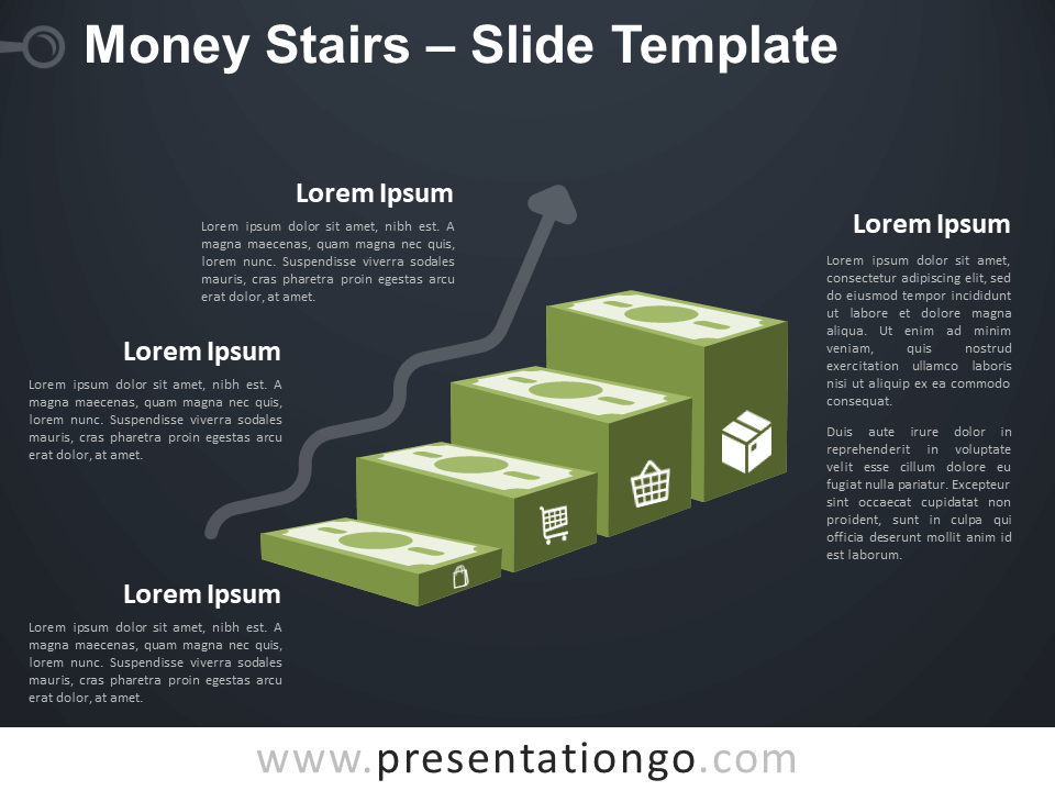 Free Money Stairs Infographic for PowerPoint