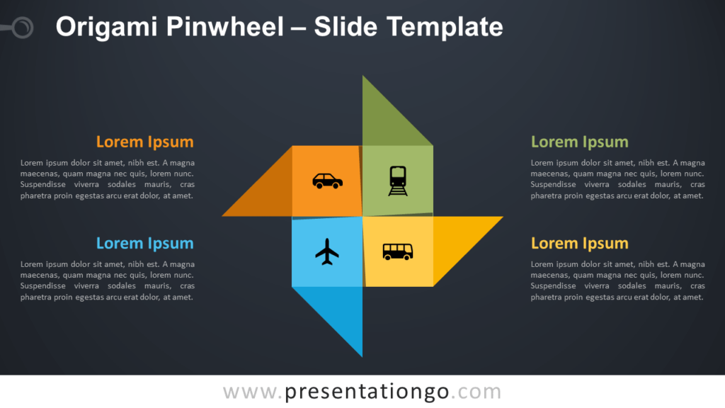 Free Origami Pinwheel Diagram for PowerPoint and Google Slides