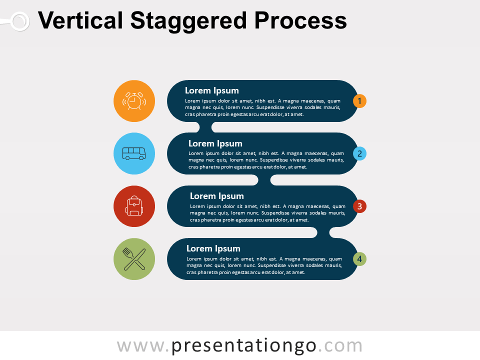 Vertical Staggered Process For PowerPoint and Google Slide