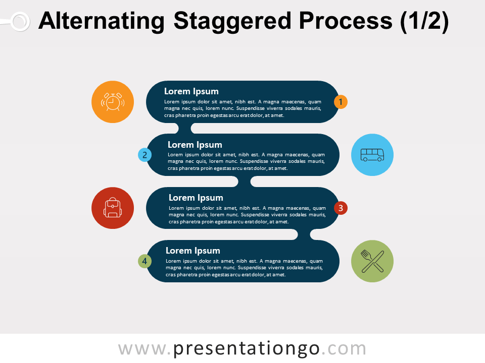 Alternating Staggered Process Diagram For PowerPoint and Google Slide