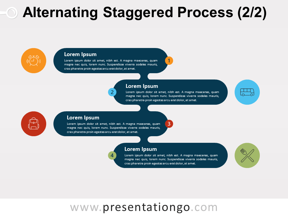 Alternating Staggered Process For PowerPoint and Google Slide