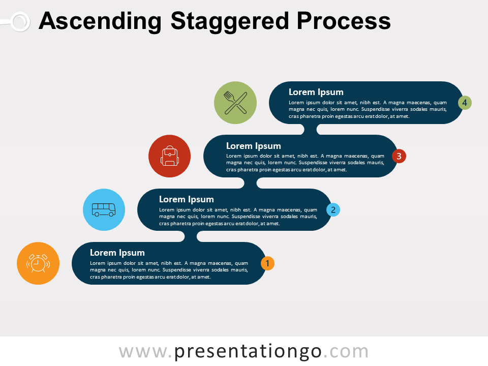 Ascending Staggered Process For PowerPoint and Google Slide